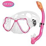 FREEDM Snorkel Set Kids,Dry Snorkeling Set Anti-Fog Snorkel Mask Impact Resistant Panoramic Tempered