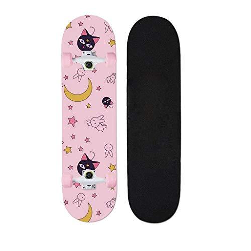 QINGQING Skateboard 7 Layers Decks Kompletter Cruiser 32x7,8 Zoll Skateboard Anime Serie Sailor Moon Für Erwachsene Anfänger 32 Zoll