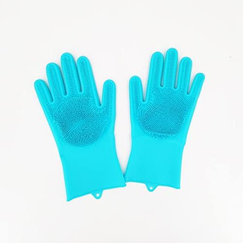 1 par de Guantes de Silicona para Lavar Platos, Guantes mágicos de Limpieza de Silicona para fregadora doméstica, Herramienta de Limpieza de Cocina de Goma, Guantes para Lavar Platos-Blue