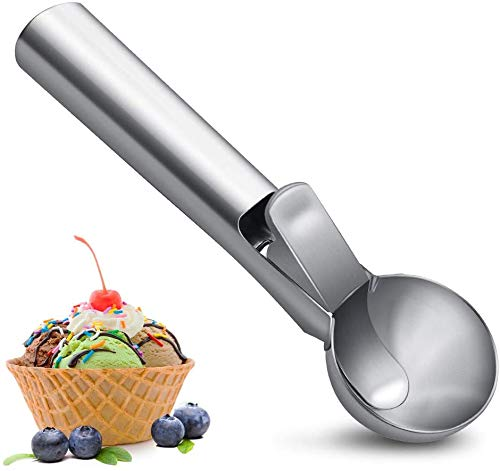 SZSMD Eisportionierer, Eislöffel Edelstahl Poliert mit Auslöser für EIS, Obst, Eiskugel, Reis, Melonenkugeln, Keksteig, Spülmaschinengeeignet