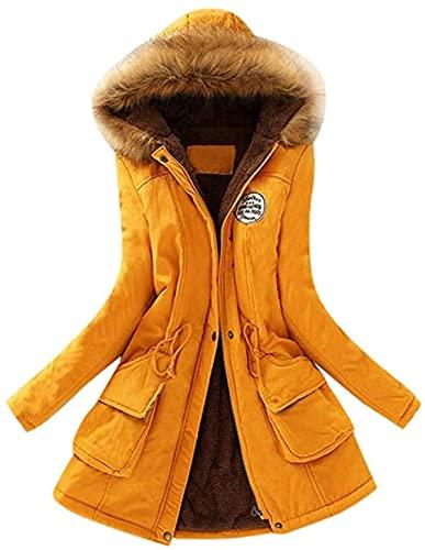 RTYUIO Abrigos de Invierno para Mujer, Abrigo cálido de Manga Larga, Cuello de Piel sintética, Cremallera con Capucha, botón, Chaqueta con Cordones, Parka Delgada, Prendas de Vestir