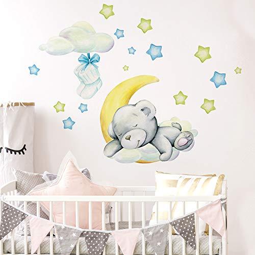 R00574 - Adhesivos murales con diseño de estrellas, oso y luna nubes, decoración de pared, habitación infantil, guardería, dormitorio - Papel Pintado Adhesivo Efecto Tela