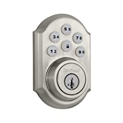 One touch locking with a motorized deadbolt & back lit keypad for increased visibility Eight customizable access codes plus a master code option; Compatible with Kwikset (KW1) keyway Latch has adjustable backset 2 to 3/8 to 2 to 3/4 inches to fit all...