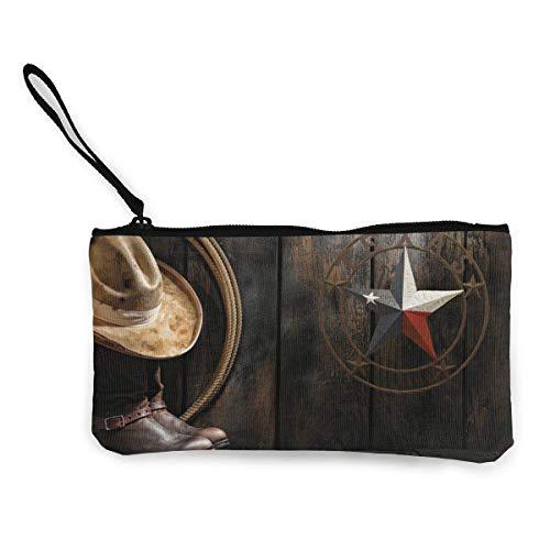 TTmom Carteras de Mujer,Monedero,Western Texas Star Banner Unisex Canvas 3D Print Pattern Portafogli per Portamonete per Uomini e Donne