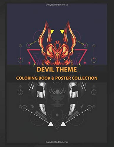 Coloring Book & Poster Collection: Devil Theme Devil Mask Theme With Sacred Geometry Style On It Fantasy