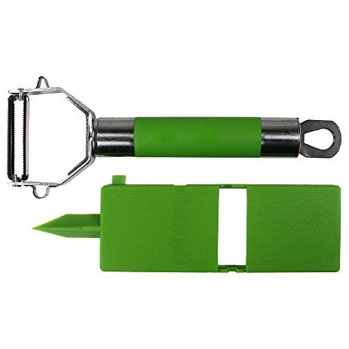 COM-FOUR® pelador de frutas y verduras en verde, pelador funcional robusto con práctico accesorio de cepillado para la cocina ⭐