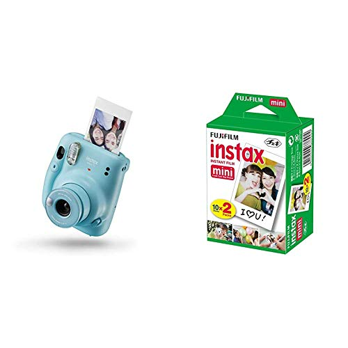 instax 16654956 Mini 11 - Cámara Instantánea, Sky Blue, Compacto + Fujifilm instax Mini Brillo - Pack de 40 Películas Fotográficas Instantáneas (40 Hojas), Color Blanco