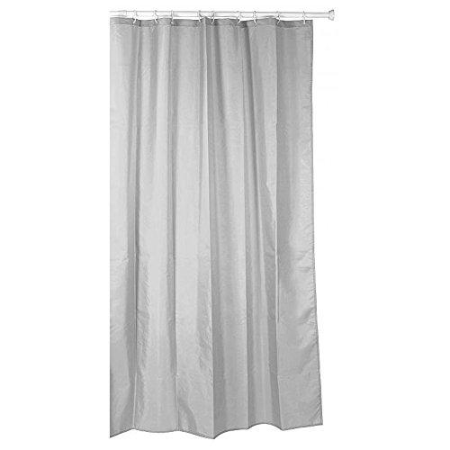 Sanixa TA5520002 Duschvorhang Textil 140x200 cm Uni Grau wasserabweisend |waschbar | Badewannenvorhang |Vorhang| hochwertige Qualität mit Ringen| Bad
