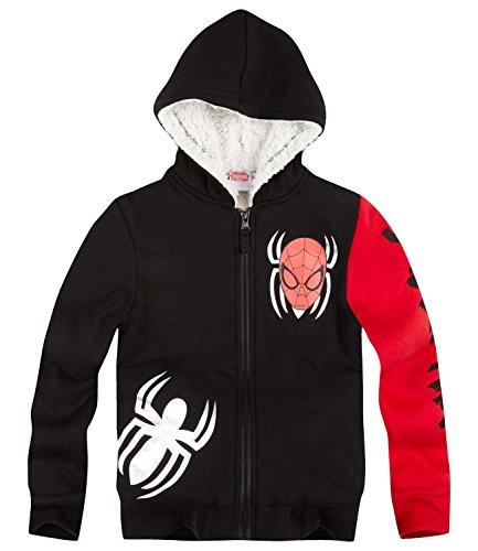 Spiderman Jungen Sweatjacke mit Teddyfutter - schwarz - 104