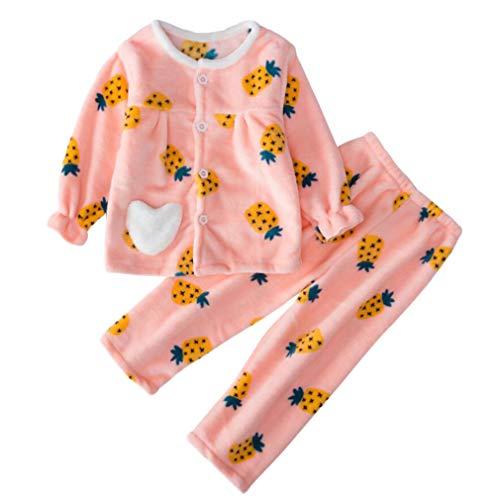 DEBAIJIA Bebé Ropa de Casa 2-12T Infantil Homewear Niños Pijama Niña Ropa de Dormir Niño Camisones Invierno Franela Calentar (Rosa-90)