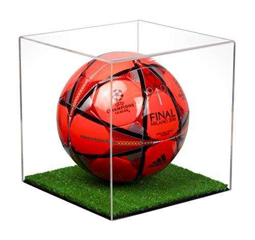 Better Display Cases Klare Fußball-Vitrine aus Acryl in voller Größe mit Rasenboden (A007-CTB)