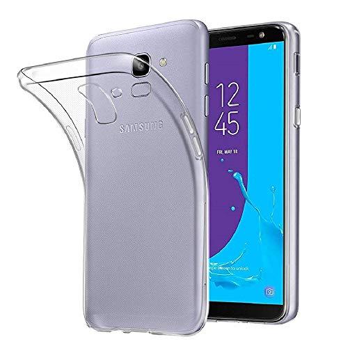 REY - Funda Carcasa Gel Transparente para Samsung Galaxy J6 2018, Ultra Fina 0,33mm, Silicona TPU de Alta Resistencia y Flexibilidad