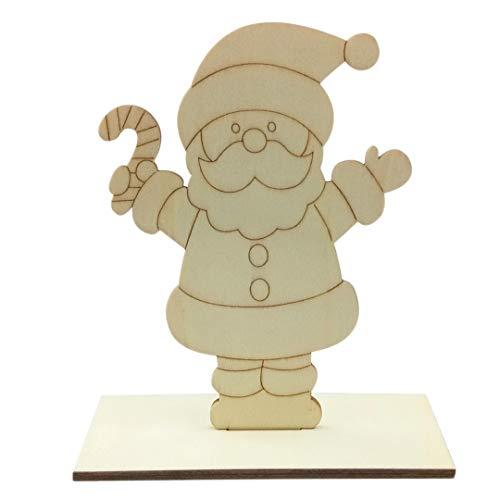 2 piezas de madera de ciervo árbol de Navidad de Papá Noel en blanco adorno de madera para niños pintura DIY decoración de Navidad suministros de ciervo, Material, B, Size