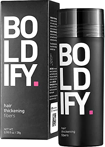 BOLDIFY Hair Fibers for Thinning Hair (BLACK) Undetectable - Giant 28g Bottle - Completely Conceals Hair Loss in 15 Sec - Natural Hair Topper for Fine Hair for Women & Men