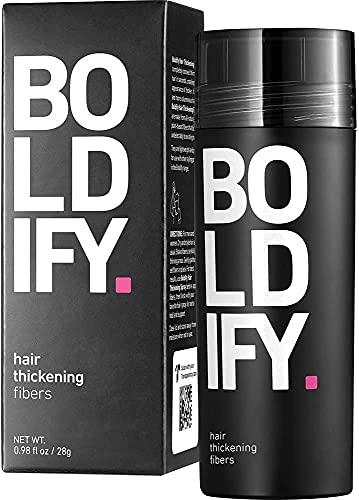 BOLDIFY Streuhaar für Dünner Werdendes Haar schwarz, Unsichtbar, Natürlich, Große Flasche, 28 g, Kaschiert Haarausfall in 15 Sek, Haarverdichtung, Haarpuder für Feines Haar, Frauen/Männer
