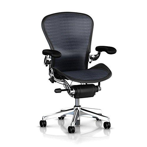 Hot Sale Executive Aeron Chair by Herman Miller - Polished Aluminum Frame - Leather Arms - PostureFit Lumbar - Blue-Black Tuxedo Size B (Medium)