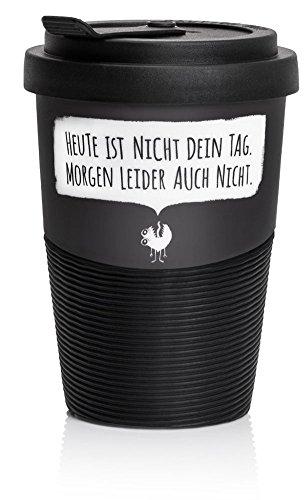 """Pechkeks Kaffee Thermobecher to go Porzellan mit Deckel, Spruch """"Nicht dein Tag."""", Größe 300ml, matt schwarz"""