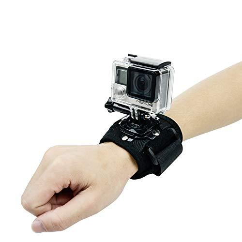 ParaPace Handschlaufe Halterung für GoPro Hero 7/6 / 5s / 5 / 4s / 4/3 +, Armhalterung Bandhalterung Fahrradhalterung Kamerazubehör mit 360 Grad Drehhaken für YI Discovery SJCAM AKASO