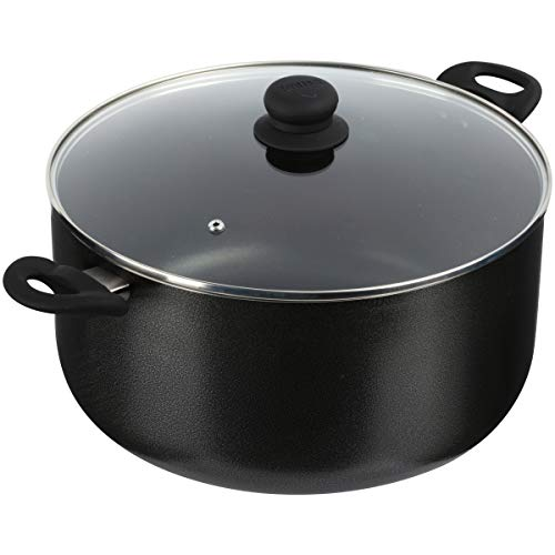 IMUSA USA Cookware 12.7Qt Charcoal Stock Pot w/Gl, 12.7-Quart, Black