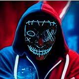 RUTIDA LED Mascaras Halloween, Máscaras de Terror Halloween Purge Máscara V Vendetta Mask 3 Modos de Iluminación, Craneo Esqueleto Mascaras para Halloween/Cosplay/Mascarada