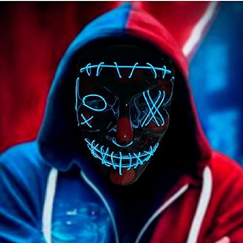 RUTIDA LED Mascaras Halloween, Máscaras de Terror Halloween Purge Máscara V...