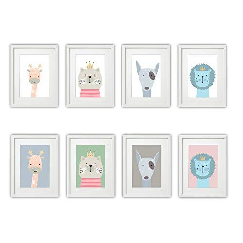 Kinderzimmer Bilder Set Babyzimmer Poster DIN A4 | für Mädchen & Jungen | Baby Tiere | farbig | Babyzimmer | Deko (#4 Giraffe Katze Hund Löwe)