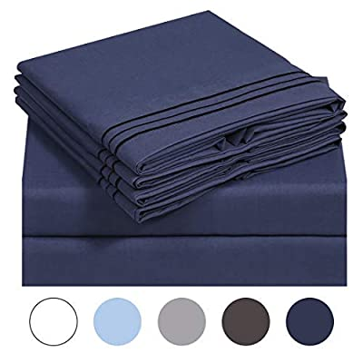 VERZEY Bed Sheet Microfiber 1200tc Soft Brushed Cooling Lightweight Wrinkle, Tear, Fade-Resistant Deep Pocket(Navy Blue, Queen, 6 Pieces)