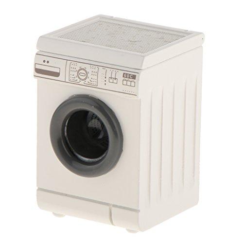 Baoblaze 1/12 Puppenhaus Haushaltsgerät Miniatur Weiße Tumbling-Box Waschmaschine aus Holz Puppenstubenzubehör