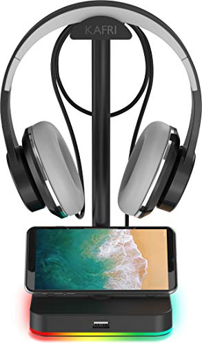 RGB Headphone Stand with USB Hub KAFRI Desk Gaming Headset Holder Hanger Rack with 1 USB2.0 Extension Charging Port Extender Cord - Suitable for Gamer Desktop Table Game Earphone Accessories