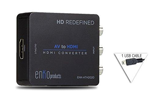 enKo Products Mini Composite RCA CVBS AV to HDMI Converter (Input: AV; Output: HDMI) for VCR DVD 720P 1080P
