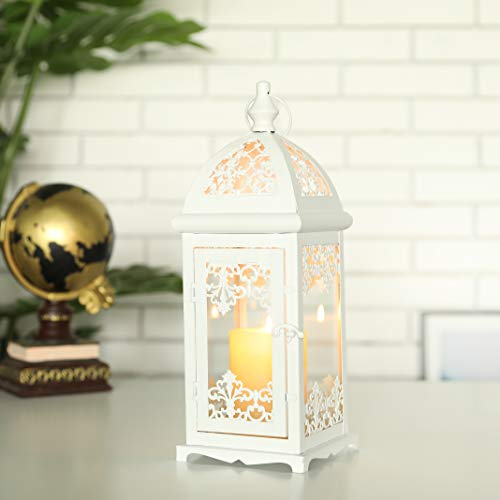 JHY DESIGN Decorative Candle Lantern 13.5' High Metal Candle Lanterns Vintage Style Hanging Lantern for Indoor Outdoor, Events, Parities,Weddings(White Color)