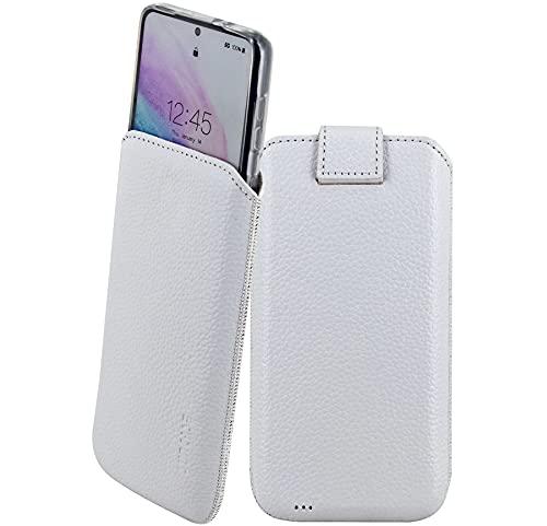 Suncase Etui Tasche kompatibel mit Samsung Galaxy S21 5G mit ZUSÄTZLICHER Hülle/Schale/Bumper/Silikon *Lasche mit Rückzugfunktion* Handytasche Ledertasche Schutzhülle Hülle in vollnarbig-Weiss