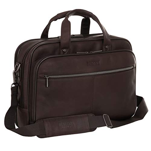 """Kenneth Cole Reaction Resolute Men's Briefcase Full-Grain Colombian Leather 16"""" Laptop Portfolio Messenger Bag, Brown, One Size"""