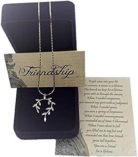 Smiling Wisdom - Vine Leaf Necklace Friendship Gift Set - Reason Season Lifetime Friend Message - Unique Appreciation Gifts For Encouraging Compassionate Best Women Lifetime Friends - Silver