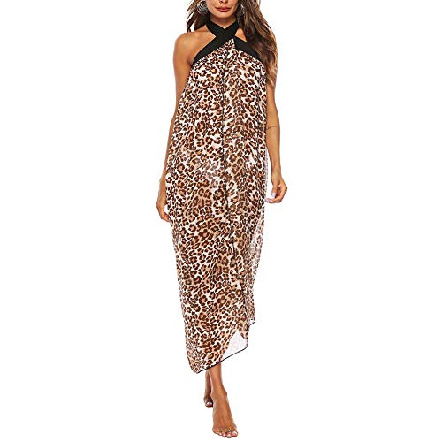 hxl Leopardenmuster Spitze Strandkleid ärmellose Träger Sexy Halfter Bikini Bluse Rock Sonnencreme Party Travel Beach Wear,XL