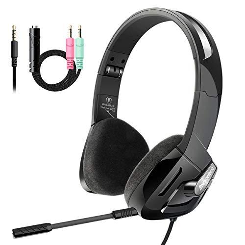 iKiKin Cuffie da Gioco con Microfono compatibili per PC PSP PS4 Laptop Mac, Cuffie da Gioco Over Ear Cuffie Pieghevoli con eliminazione del Rumore con Audio Surround Stereo (Nero)