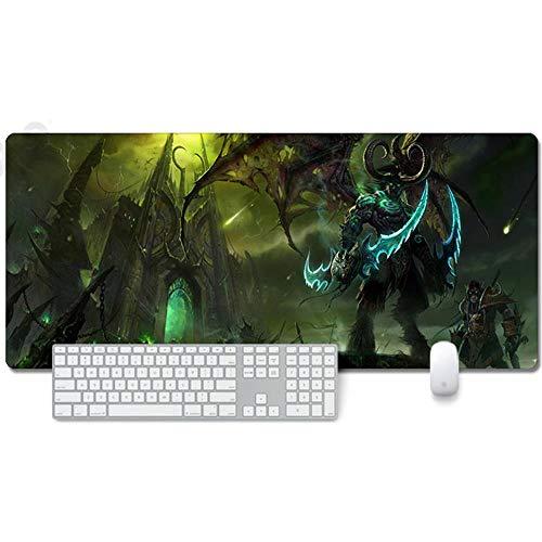 ITBT World of Warcraft Tapis de Souris XXL 900x400mm Hydrorésistant Anime Mouse Pad Grand Tapis de Souris Gamer avec Base en Caoutchouc Anti-Glissant Surface Texturée pour Ordinateur et PC, K