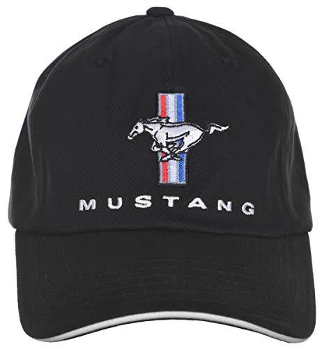 Herren Ford Mustang Cap Tri-Bar Pony Logo Einstellbare Schwarz Hat