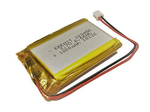 EREMIT Lithium Polymer LiPo Batterie Akku 1800mAh 3.7V 1S PCB 103450 JST PH 2.0 mm 30