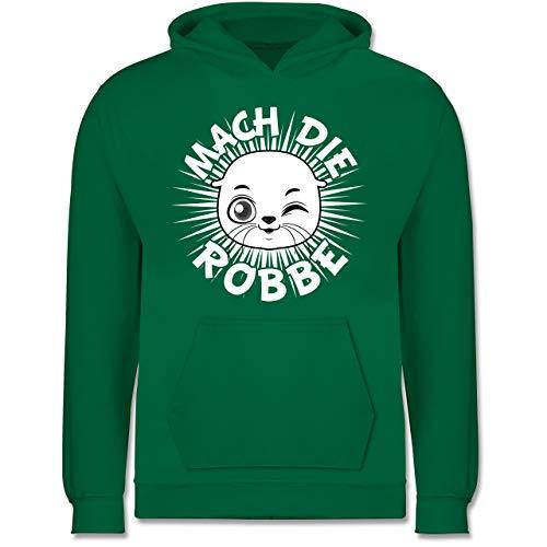 Shirtracer Up to Date Kind - Mach die Robbe - 140 (9/11 Jahre) - Grün - Spruch - JH001K - Kinder Hoodie