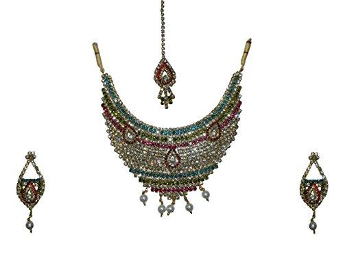 Conjunto joyas Rani multicolor con brazaletes y bindis joyería India accesorio