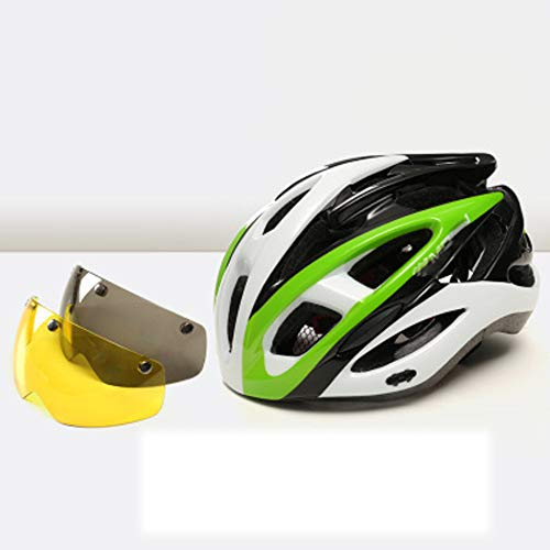 Cycling helmet, goggles riding mountain bike helmet, equipped with custom bicycle helmet, road men and women riding sports helmet-green-L(58-61cm)