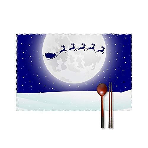 Doinh Juego de 4 manteles Individuales diseño de Reno en arnés con Trineo de Papá Noel, Resistentes a Altas temperaturas, Antideslizantes, Lavables, de cartón Aislante