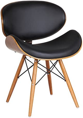 Best Armen Living Cassie Dining Chair in Black Faux Leather and Walnut Wood Finish