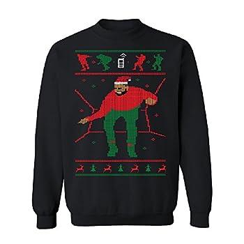 Santa Drake Hotline Bling Unisex Crewneck Dance Ugly Sweater Gift Sweater Black XX-Large