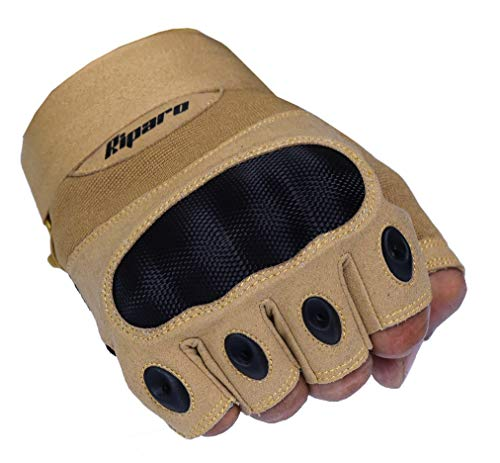 Riparo Tactical Full Finger Fingerless Touchscreen Military Shooting Hunting Rubber Outdoor Gloves (XX-Small, Sand Fingerless)