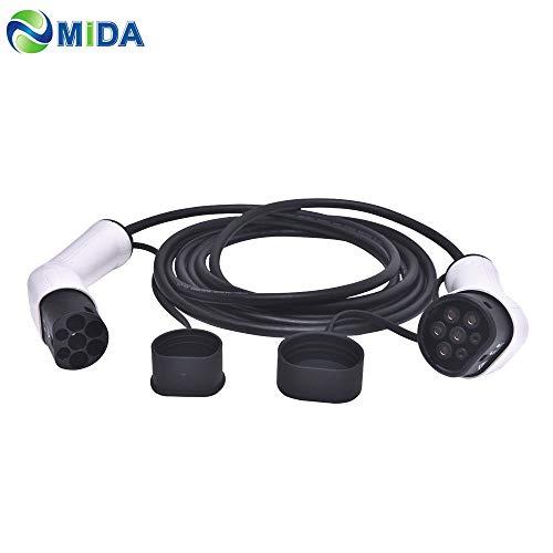 ETE ETMATE Cable de Carga - Tipo 2 a Tipo 2 - 16A - Ttrifásico - 11KW - 5 Metros