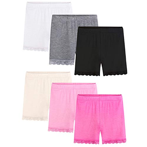 BOOPH Lace Bike Short Girls Dance Undershorts for 5-7 Years 6 Pack Multicolored