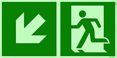 Orig. ANDRIS® Qualitäts-Symbolschild Rettungsweg Links unten, Kombi-Symbolschild ISO Kunststoffplatte Größe: 300x150mm sehr Lange nachleuchtend & selbstklebend