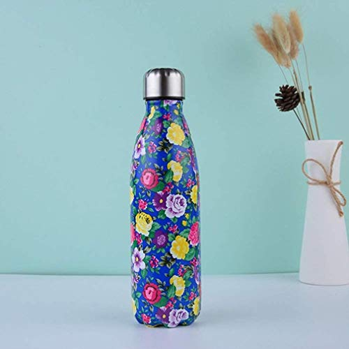 Stainless Steel Water Bottle,Eco-Friendly 500ml Double-Walled Premium Stainless Steel Water Bottle for HOT and Cold Drinks,Leak Proof,for Kids,Adult,Sports,Gym,E